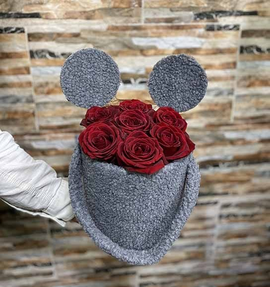 باکس میکی ماوس گل رز سرخ