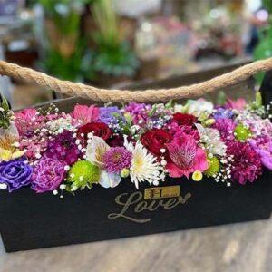 باکس چوبی کنف دار مشکی با گل-2