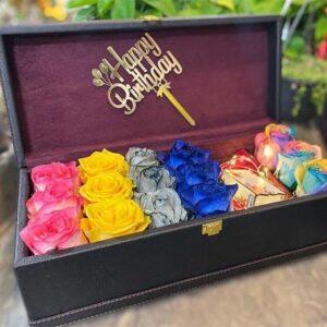 باکس گل چرمی رز رنگارنگ2