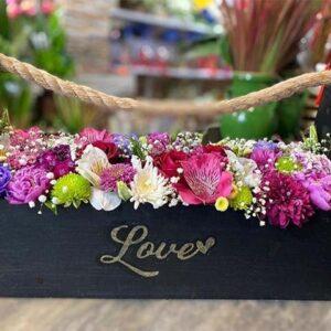 باکس چوبی کنف دار مشکی با گل4